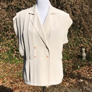 Oversized Pleated Ivory Career Blouse Button Up 10